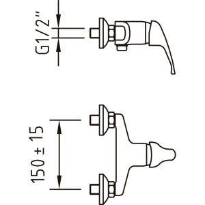 Monomando ducha PANAM cromo 94698