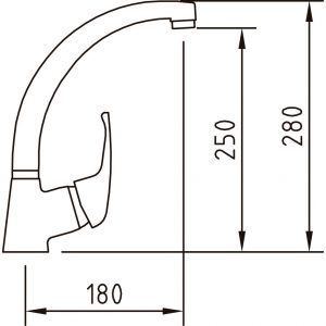 Monomando fregadero vertical caño tubo PANAM 92350